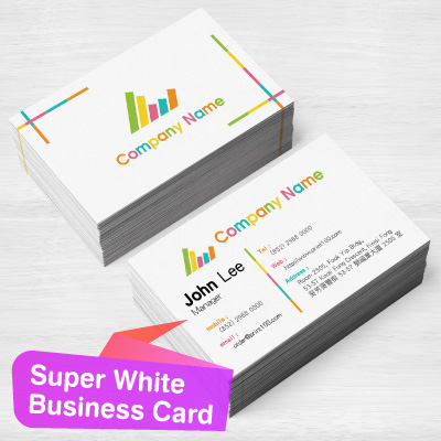 Business Card with Super White Stock Paper